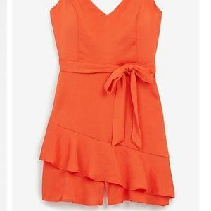 Express ruffle wrap front skirt romper L